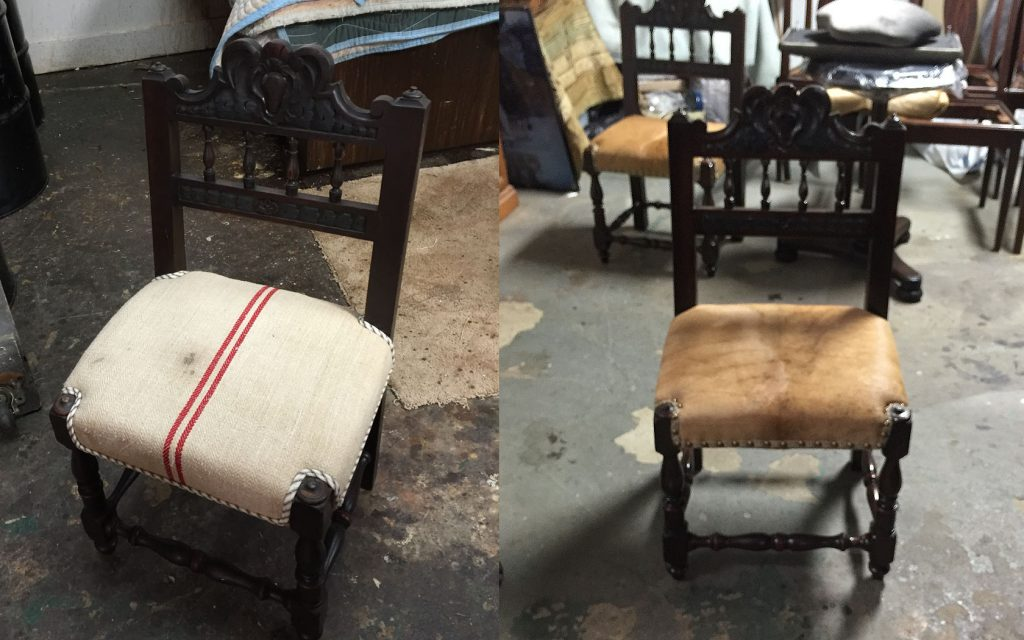 reupholstered antique chair cow hide